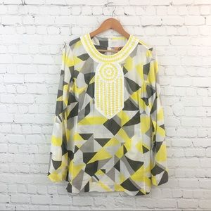 Tory Burch yellow and gray abstract tunic